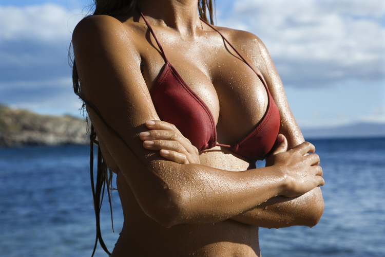 woman's upper body in swimsuit